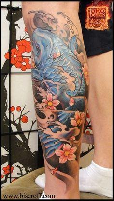 Asian Koi Fish Tattoo Design On Leg