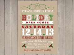 Holiday Open House, Christmas Party Kraft Vintage Typography Holly on Etsy, $16.00