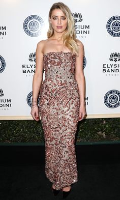 AMBER HEARD   wears a glittery dusty pink strapless column with jewelry by (deep breath) Nigaam, Established Jewelry, Rachel Katz Jewelry, EF Collection, EFFY and Vita Fede, to the Art of Elysium gala.