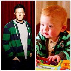 NOOO Emma and wills baby wearing the same sweatshirt as Finn; Finn Hudson Glee, Finn Glee, Brittany And Santana, Glee Cory Monteith, Glee Club, I Want Him, Naya Rivera, Dianna Agron, Darren Criss