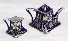 Art Deco Victoria Austria Cobalt Blue Sterling Floral Overlay Teapot & Creamer