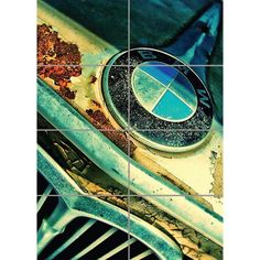 RUSTY BMW FRONT BADGE CAR RETRO COOL GIANT ART PRINT PANEL POSTER NOR0029