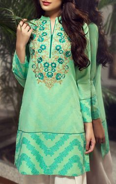 Buy Sea Green Embroidered Jacquard Kurti by Bonanza 2015 Call: (702) 751-3523 Email: Info@PakRobe.com www.pakrobe.com https://www.pakrobe.com/Women/Clothing/Buy-Winter-Salwar-Kameez-Online #Winter_Salwar_kameez