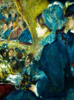 At the Theatre (La Première Sortie), 1876-7    Pierre-Auguste Renoir    Detail Love Renoir..un peinture qui me plait!