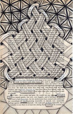 Zentangle Drawings on Recycled Vintage Book Pages Doodle Art Designs, Doodle Patterns, Zentangle Patterns, Zentangle Drawings, Doodle Drawings, Zentangles, Book Page Art, Book Pages, Poetry Art