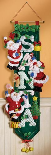Bucilla Christmas Santa Wall Hanging 85454 Felt Applique 2007 for sale online Christmas Sewing, Noel Christmas, All Things Christmas, Christmas Stockings, Christmas Wreaths, Christmas Ornaments, Felt Decorations, Christmas Decorations, Christmas Projects
