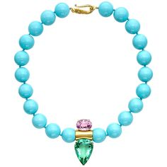 Peggy Stephaich Guinness Turquoise Bead Necklace with Kunzite & Fluorite