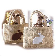 Sacco di iuta sacchetto regalo lepri Pasqua Coniglietto Easter Bunny sacchetto di juta