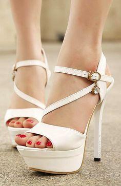 White high heel sandals