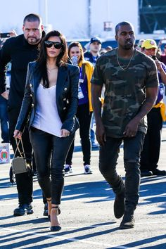 Kim and Kanye headed in to watch the game (AKM-GSI)