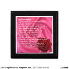 Shop Goddaughter Poem Keepsake Box - Pink Silk & Rose created by Lastminutehero. Silk Roses, Pink Silk, Goddaughter Gifts, Box Roses, Detail Shop, Daughter Of God, Holiday Photos, Keepsake Boxes, Gift Tags