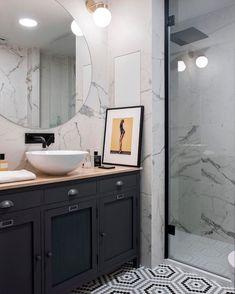 Contemporary Interior Design, Bathroom Interior Design, Bathroom Inspiration, Home Decor Inspiration, Farmhouse Interior, Beautiful Space, Interiores Design, Double Vanity, Interior Styling