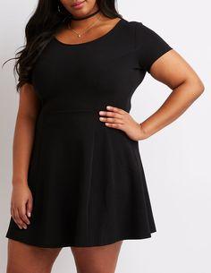 66bfabcb1e8b71 Plus Size Scoop Neck Skater Dress | Charlotte Russe Charlotte Russe Plus  Size, Princess Seam