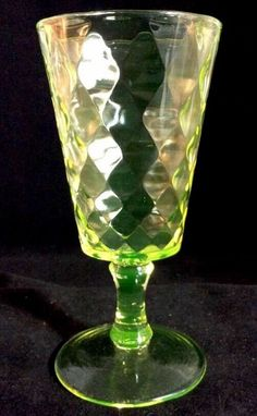 Diamond Quilted Goblet Vaseline Bryce Bros 1885 Pattern Glass Canary Yellow #2