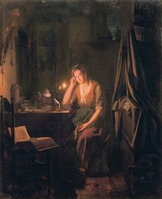 A seated lady by candlelight By Johannes Rosierse