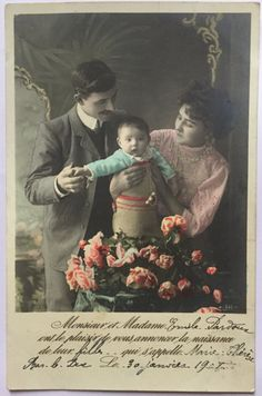 1905 Birth Announcement on Antique postcard * Mother, Father and Son * French Belle époque