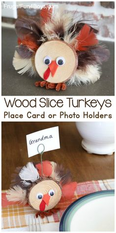 Wood Slice Turkey Craft for Thanksgiving - Frugal Fun For Boys and Girls