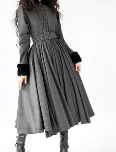 Black Cashmere Coat Big Sweep Women Wool Winter by Sophiaclothing ...
