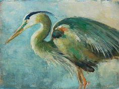 """Heron in Green"" - Original Fine Art for Sale - © Deb Kirkeeide"