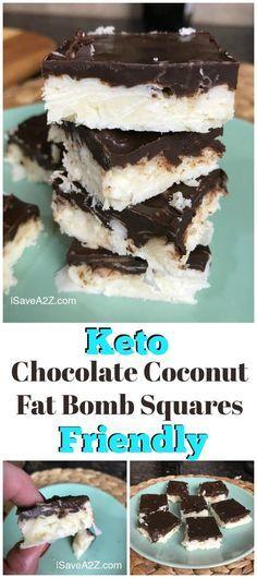 Keto Chocolate Coconut Fat Bomb Squares - Keto Brownies - Ideas of Keto Brownies - Keto Chocolate Coconut Fat Bomb Squares Recipe perfect low carb dessert idea! Keto Foods, Ketogenic Recipes, Low Carb Keto, Low Carb Recipes, Keto Fat, Ketogenic Diet, Lchf, Ketosis Diet, Breakfast