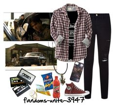 """Driver picks the music, shotgun shuts his cakehole."" by fandoms-unite-3947 ❤ liked on Polyvore featuring Frame Denim, Old Navy, Episode, Michele and Aurélie Bidermann"