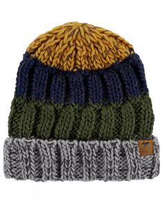 Top off his winter look with this boys' Carter's hat. Knitted Hats Kids, Knitting For Kids, Kid Styles, Carters Baby, Baby Boy Outfits, Toddler Boys, Color Blocking, Winter Hats, Top
