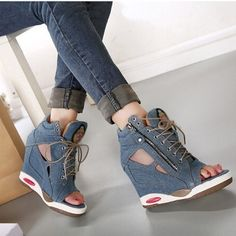 shoes asia on sale at reasonable prices, buy Spring Summer Open Toe Shoes Sexy Lady Pumps High Heel Girl Wedge Sandals Platform Lady Fashion Shoes Jeans Designer Wedges from mobile site on Aliexpress Now! Sneakers Mode, Sneakers Fashion, Fashion Shoes, High Heel Sneakers, Fashion Rings, Women's Shoes Sandals, Wedge Shoes, Shoe Boots, Outfit