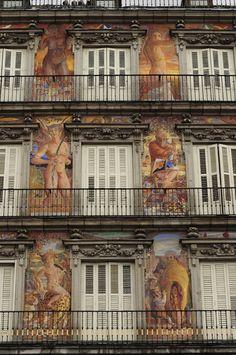 Facade of the Casa de la Panaderia. Plaza Mayor, Madrid, Spain.