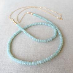 Amazonite Gemstone Necklace  Long 14k Gold Filled by marigoldmary