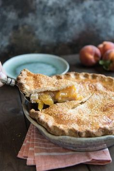 Classic, Southern Peach Pie is filled with summer's juiciest, fresh peaches and has a flaky, buttery double-crust. Perfect served with a scoop of ice cream!
