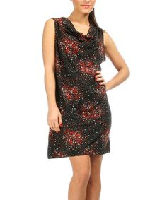 Black & Red Dot Drape Neck Dress #zulily #zulilyfinds