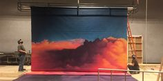 """Painting The Heavenly Groundcloth for """"Earthquakes In London"""" - Scenic artist Angelique Powers shares her technique for creating a bold and powerful scenic backdrop & groundcloth for a production of """"Earthquakes in London."""""""