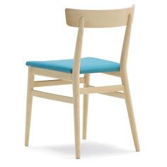 Nika chairs from Sandler Seating. Nika with blue upholstery on solid wood frame.