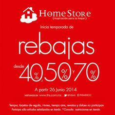 ¡Ya iniciaron las #rebajas en @thehomestore! 40, 50 y 70% de descuento en la tienda. ¡Te esperamos muy pronto!