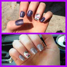 Sugar skull nails I did :) in the sun the sparkle nail polish changes to purple