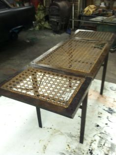 Embalming/cooling table. Turn of the century. Found at auction.