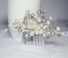 Wedding Hair Accessories Ivory Champagne Pearls by eminjewelry, $68.00