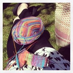 Working on socks in the park