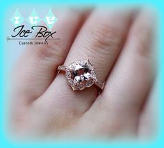 Morganite Engagement Ring Cushion Cut Morganite in by InTheIceBox