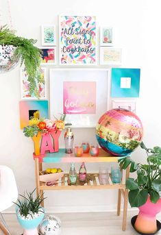 Make Your Own Rainbow Disco Ball! Until I, Kara , bought my first disco ball, I never realized how much sheer joy they can bring to a room. Cheap Home Decor, Diy Home Decor, Rainbow Bar, Home Interior, Interior Design, Casa Retro, Contemporary Home Decor, Disco Ball, Beautiful Mess