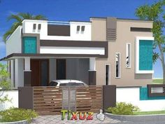 elevations of independent houses కోసం చిత్ర ఫలితం Village House Design, Bungalow House Design, Building Elevation, House Elevation, Latest House Designs, Cool House Designs, North Facing House, Single Floor House Design, Architecture Design