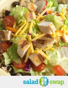 *Instead of a Chicken & Rice skillet try this Chicken Rice and Black Bean Salad Bowl.*  *Chicken & Rice: 540 Calories Chicken Rice & Black Bean Salad: 290 Calories*  *Serves 4 to 6*