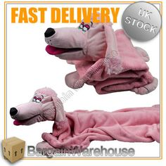 HUG CUDDLE PUPPET BLANKET BUDDIES 2 IN 1 SNUGGLE PETS FUN SOFT PINK POODLE DOG