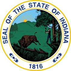 The seal of Indiana Indiana's seal depicts a setting sun, sycamore trees, a woodsman, and a jumping buffalo. This was the first symbol Indiana, which was made official in 1801 for the Indiana Territory and again in 1816 by the state of Indiana. It served as the state's only emblem for nearly a century until the adoption of the state song in 1913.