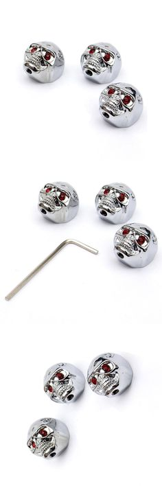 [Visit to Buy] SEWS 3X knob 6mm electric guitars for grooved axis Skull Skull Silver #Advertisement
