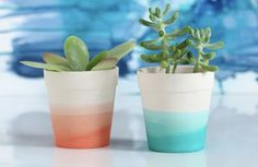 DIY how to paint terra cotta pots tips and tutorial. I used chalk paint to give my clay pot a modern but simple rainbow ombre design. Plus ideas for other ways to paint terracotta by hand. Perfect for holding succulents Painted Plant Pots, Painted Flower Pots, Painting Terracotta Pots, Clay Flower Pots, Plant Painting, Diy Painting, Painting Clay Pots, Pots D'argile, Decoration Plante