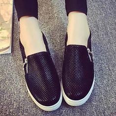Zapatos de mujer - Tacón Plano - Comfort / Punta Redonda - Sneakers a la Moda - Exterior / Casual - Semicuero - Negro / Bermellón 4760281 2016 – $13.619