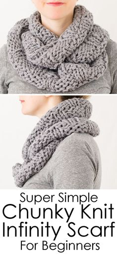 If you're just learning to knit, this is a great knitting pattern for beginners! This chunky knit infinity scarf is knit in the round with a basket weave stitch pattern. Super cozy for winter! Beginner Knitting Patterns, Knitting For Beginners, Easy Knitting, Knitting Projects, Knitting Ideas, Knit Basket, Basket Weaving, Stitch Patterns, Crochet Patterns