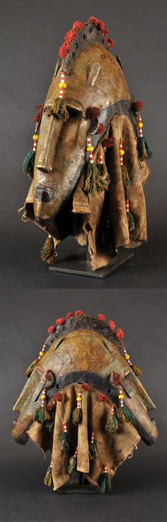 Africa | 'N'golo' mask from the Marka people of the Macina region of Mali | Wood, brass sheeting, silk/cotton and bead tassels and bogolan cloth