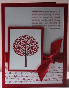Valentine Handmade Red Card Stampin Up. $2.50, via Etsy.